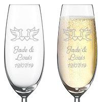 Flute Champagne Gravée Luxe Colombes et Petits Coeurs