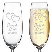 Flute à Champagne Gravée Deux Coeurs
