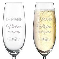 Flute à Champagne Luxe Gravée Le Marié