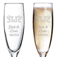 Flute à Champagne Gravée Colombes et Petits Coeurs
