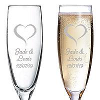 Flute à Champagne Gravée Personnalisée Coeur
