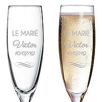 Flute à Champagne Gravée Personnalisée Marié