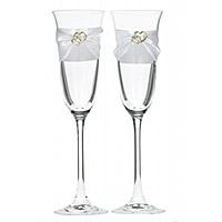 Lot de 2 Flutes à Champagne Double Coeurs Dorés