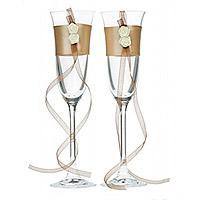 Lot de 2 Flutes à Champagne Satin et Roses
