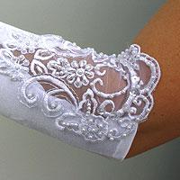 Les gants de mariee Longs Perles et Broderies Blancs