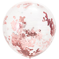 Ballon Géant Transparent 1m avec Confettis Rose Gold