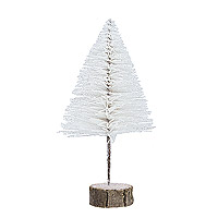 Grand Sapin de Noel 30 cm Pailleté Blanc Socle Bois
