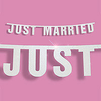 Banderole Lettres Just Married Mariage