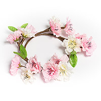 Headband Couronne de Cheveux Fleurs de Ceriser