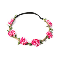 Headband Couronne de Fleurs Fuschia Champêtre
