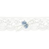 La Jarretière Dentelle Ivoire Roses Bleues et Ficelle
