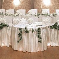 Jupe de Table Buffet Satin Froncé Mariage