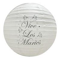 Lot de 2 Boules Lampion Vive les Mariés 30cm
