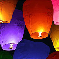 Le Lot de 10 Lanternes Volantes - Sky Lantern Multicolor