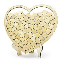 Cadre Livre d'Or Coeur en Bois Naturel avec Chevalet
