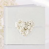 Le livre d'Or Coeur Fleurs Relief avec Corde