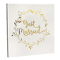 Livre d'Or Fin Just Married Blanc et Doré