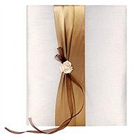 Le Livre d'Or Satin Ivoire et Chocolat 3 roses Luxe