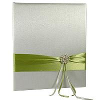 Le Livre d'Or Satin Drapé Vert Anis Broche Perles Strass