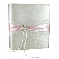 Le Livre d'Or Satin Blanc et Rose Papillon Strass