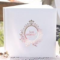 Livre d'Or Mariage Mariés Just Married Rose Gold et Blanc