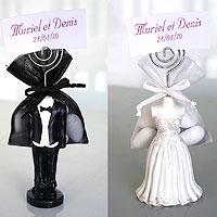 Lot de 10 Figurines des Mariés assorties avec Tige et dragées