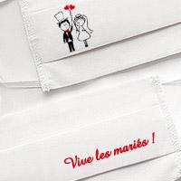 Masque en Tissu Blanc Vive les Mariés