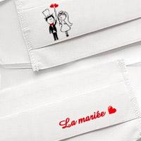 Masque en Tissu Blanc pour la Mariée