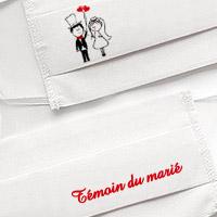 Masque en Tissu Blanc Témoin du Marié