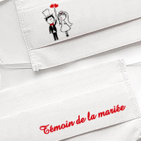 Masque en Tissu Blanc Témoin de la Mariée