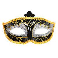 Le Masque Vénitien Luxe Noir Paillettes Dorées et Argent