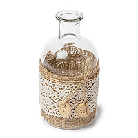 La Petite Bouteille Vase Vintage Jute Dentelle et Boutons