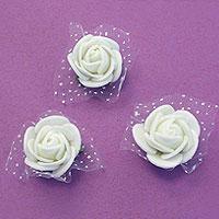Mini Roses Blanches Autocollantes x6
