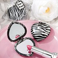 Le Petit Miroir de Poche Coeur Zèbre et Gris Argent