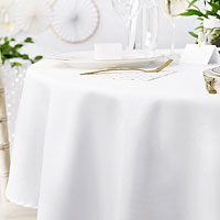 Nappe Ronde Blanche Luxe Resistant Blanc 300 cm