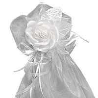 Lot de 2 Cocardes Tulle Fleurs et Perles Luxe