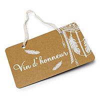 Pancarte Boho Kraft Vin Honneur