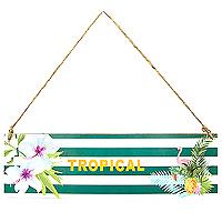 La Pancarte Tropical en Bois avec Cordelette