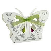 Lot 10 Papillons Blancs Paillettes Argentées avec Dragées