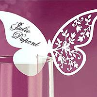 Lot 10 Papillons Ajourés Luxe Accroche Verre Motif Floral