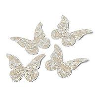 24 Papillons Jute et Dentelle