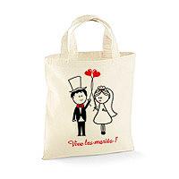 Petit Sac Tote Bag Coton Vive les Mariés