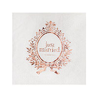 Petites Serviettes de Table Just Married Rose Gold x20