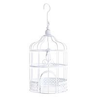 Petite Tirelire Cage Oiseaux Décoration Métal Blanc 24cm