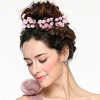 Mini Roses Ourlées en Satin Décoration Cheveux