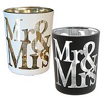 Lot de 2 Photophores Mr and Mrs Blanc ou Noir