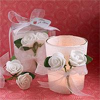 Le Photophore Verre et Parchemin Blanc avec Petites Roses