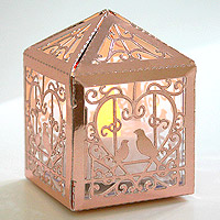 Photophore Carton Cage Oiseau Rose Gold Pas Cher