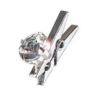 Lot de 8 Pinces Argentées avec Petit Diamant