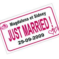 La plaque d'immatriculation Just Married Personnalisée